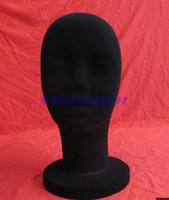 al por mayor pelucas de terciopelo-STYROFOAM Velvet FOAM Negro Velvet MANNEQUIN MANIKIN cabeza de visualización peluca gafas de sombrero a estrenar y de alta calidad