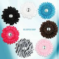 Wholesale 2015 Hot Crystal Daisy Flower Clip Baby Infant Hair Bow Crochet headband GIRL Baby EX0187