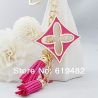 Cheap 2014 novelty items souvenir Clover chaveiro Leather Tassel Keychain Brand Key Ring key holder women Car Key ferramentasTrinket