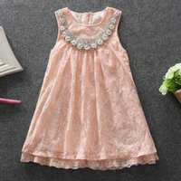beautiful princess costumes - 2016 Summer Beautiful Girl Lace Dresses Cotton Pink Pearl Collar Cute Elegant Princess Party Dress y Childrens Costumes