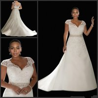 Wholesale HOT Brand New Plus Size Short Sleeve Lace Wedding Dress A Line White Dignified Generous Bridal Wedding Dress NO