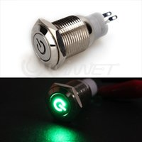Wholesale Metal Latching Green LED Power Logo Push Button Switch mm V Car