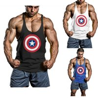 Wholesale Captain America Gym Clothing Cotton Men Tank Top Hurdles Singlets Bodybuilding Vests Exercise Fitness Wear Mens Sleeveless Shirts Stringer