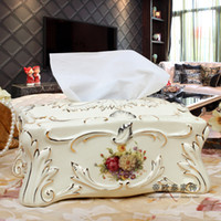Wholesale European high grade gilt ceramic home living room coffee table Tissue Box pumping tray decorations housewarming wedding gift