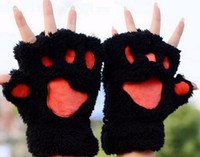 Wholesale 2015 woman Winter half finger gloves fluffy bear cat plush claw gloves novelty Warm glove christmas gloves fashion soft gloves