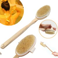 Wholesale Natural Long Wood Bristle Body Brush Massager Bath Shower Back Spa Scrubber Good Quality Hot