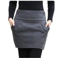 Cheap 2015 Autumn And Winter Skirt Women Fashion Brand Design Plus Size Wool Slim Hip Bud Pocket With Zipper Short Mini Woolen Skirts