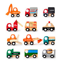 Cheap Wooden Mini Car Forklift Tanker Fire Truck Police Car Ambulance Bus Baby Kids Classic Toy Vehicles 12 PCS Set