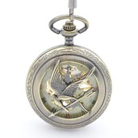 arrow cases - Mechanical pocket watches for mens with chain love bird Cupid s arrow design case Hand Wind up pocket watches for sales