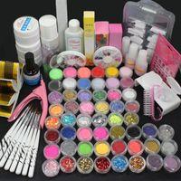 acrylic liquid - Pro Acrylic Liquid Nail Art UV Gel Brush Glue Glitter Powder Tool Set Kit Tips