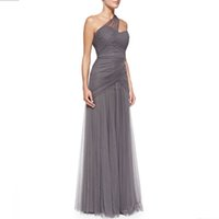 dress one size - Zuhir Muad Dresses Evening Wear Cris Cross Draped Tulle Gown One Shoulder Grey Evening Gowns Plus Size Prom Dresses