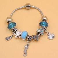 achat en gros de océan bracelet de charme-Nouveau Bijoux d'arrivée en gros conque Ocean Beach style Starfish DIY Seashell Seahorse Charm Bracelet pour les bijoux de cadeau de Noël