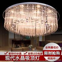 Wholesale Shine New arrival modern bright lavish LED chandelier ceiling light brilliant crystal pendants light with remote control