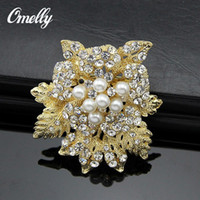 Wholesale Faux Pearl Rose Flower Vintage Brooches Pins Wedding Bridal Bouquet Brooches Broach Jewelry in Bulk