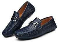 Wholesale British style Fashion Alligator grain Men Flats Moccasins Genuine leather Loafer Male Driving Shoes Casual Boat shoes