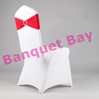 Wedding Chair Spandex / Polyester many color can do White Chair Cover For Wedding And Elastic Buckle Spandex Chair Band (Red Color)