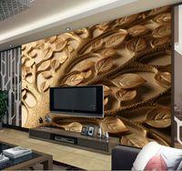 Wholesale Custom d mural wallpaper Personalized romantic minimalist beige living room bedroom TV backdrop leaves d photo wallpaper
