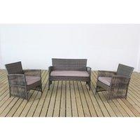 patio furniture - 4 Wicker Cushioned Outdoor Patio Set Garden Lawn Sofa Table Furniture Seat