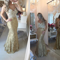 Wholesale 2016 Gold Prom Dresses with Sleeveless Scoop Neck Top Ivory Cocktail Dresses Mermaid Style Formal Dresses Evening Dresses with Appliques
