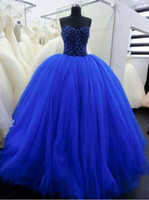 Wholesale Royal Blue Sweetheart Lace up Beaded Cheap Quinceanera Gowns Princess Sweet vestidos de Quinceanera Dresses Ball Gown