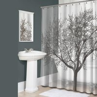 Wholesale 180 cm Polyester Fabric Waterproof Coffee Mocha Tree Bathroom Bath Shower Curtain with Free Hooks