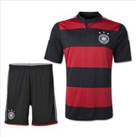 in germany - 2014 World Cup Germany Away Soccer Jersey Men soccer comfortable clothes suit RED BLACK color S M L XL in Polyester