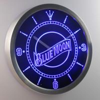 beer moon - nc0111 Blue Moon LUMINOVA Neon Sign Bar Beer Decor LED Wall Clock Dropshipping