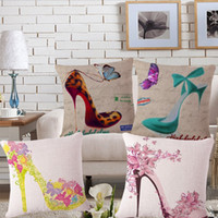 bedroon decor - 4 styles Summer High heeled shoes Custom Cushion Covers Retro Butterfly Decorative Pillows Covers Throw Pillows Cases Bedroon Decor