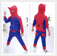 Cheap Boys Spider-Man 2pcs Sets Outfits 2015 Spring Autumn Children Casual Sets Boy's Sports Training Suits Hoodies+ Pants 110-150CM 5set lot L544