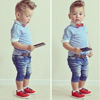 baby institute - baby clothing institute of European and American boy wind tie T shirt jeans two piece Children s Outfits Handsome boy clothing