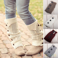 Wholesale Women s Soft Crochet Knitted Lace Trim Boot Cuffs Toppers Leg Warmers Socks P6H