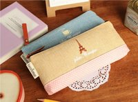 Wholesale Lovely Gir s Portable Pen Bags Canvas Pencil Case Storage Bag Cosmetic Wave Point Stationery