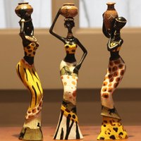 african woman figurine - Home decoration resin figurine statue craft ornament gift african women statue decorative handcraft yellow and green set