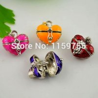 prayer box charm - 25pcs Mixed Color Enamel Heart Prayer Wish Craft Photo Frame Locket Box Fit Charms Necklace Pendant