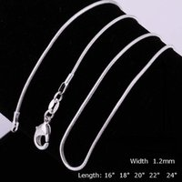 Wholesale 100pcs S925 silver smooth snake chain Necklaces mm mixed size inch hot sale jewelry necklace YDH