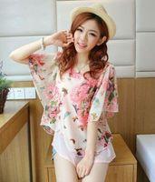 Wholesale Kimono Time limited Appliques Long Women Blouses Hot Sale Women Blouse Short sleeve Floral Chiffon Top Summer Shirts060505