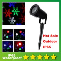 Wholesale 2016 New Arrival Moving Snowflake Outdoor LED Landscape Projector Light Snowflake Moves Automatically RGB Color Snow Laser Lawn Light Party