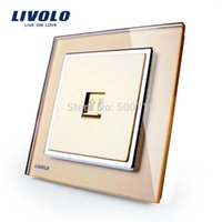 Wholesale Manufacture Livolo New Style Luxury Crystal Glass Panel Multi function Wall Socket for Telephone VL W291T