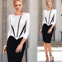 Wholesale 2015 New Style OL Work Dresses Black White Patchwork Long Sleeve Diagonal Front Zipper Tunic Slim Knee Length Pencil Dresses