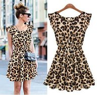 Wholesale Sexy Girls Mini Clothes - Fashion women girl leopard grain printed dress lady sexy night out club mini dresses A-line street style summer clothing drop shipping
