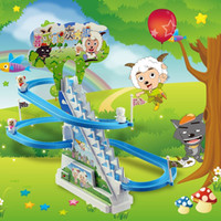 Wholesale Electric toy Xiyangyang stairs slide cartoon beautiful sheep track stall selling toys