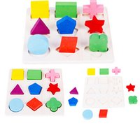 Wholesale 2015 New Baby Kids Montessori Early Wooden Learning Educational Toy Geometry Puzzle LDD