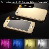 aluminum front bumper - For iPhone Luxury Aluminum Bumper Case Metal Frame Front Back Colorful Mirror for iphone S Tempered Glass Film