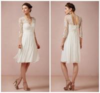 Ivory Chiffon Nuevo vestido de dama de honor V cuello plisados cordón de media manga volantes Applique longitud de la rodilla de una línea vestido de dama de honor HY 387