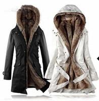 amazing fur - Amazing Faux Fur Lining Women s Beige Fur Coats Winter Warm Long Coat Drop Shipping