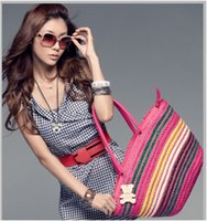 bamboo beach bag - Women s Summer Beach Tropical Beach Rainbow Straw Bamboo Handle Tote Bag Shoulder bag
