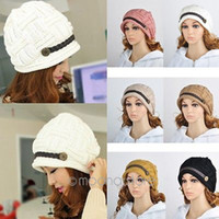 Wholesale Hat Female Autumn And Winter Fashion Thermal Knitted Winter Hat Warm Ear Women s Knitted Hat