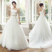 Cheap one shoulder wedding dresses Best a line wedding dresses
