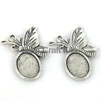 bamboo settings - 150pcs butterfly Cabochon Base Settings antique Silver Tone fit cameo gem of mm