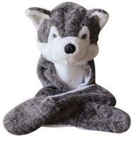 Cheap Wholesale-New Fashion Cute Plush Gray Wolf Animal Hat with Paws for Teenagers Winter Hats Free Shipping